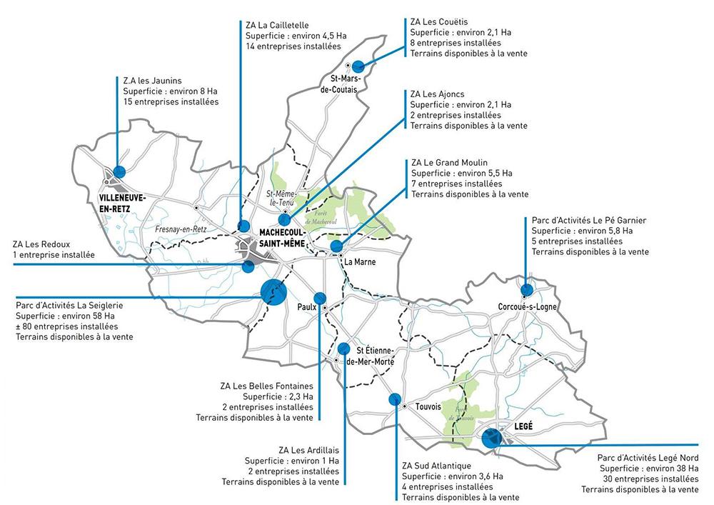 Sud Retz Atlantique Développement économique : Carte des zones de développement économique - Parcs d'activités.