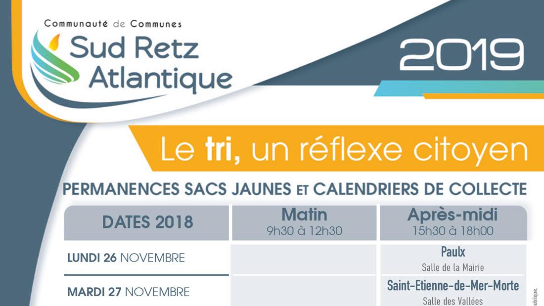 Permanences Sacs jaunes et calendriers de collecte 2019 Sud Retz Atlantique